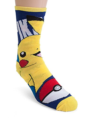 Bioworld-Pokemon-Pikachu-Reversible-Crew-Calcetines