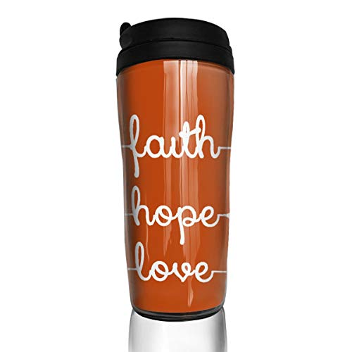 Rwwrewre Unisex Food Grade ABS Travel Mugs Simple Feather Arrow Faith Love Hope Glamour Fantasy by Coffee Thermal Tumbler Cups