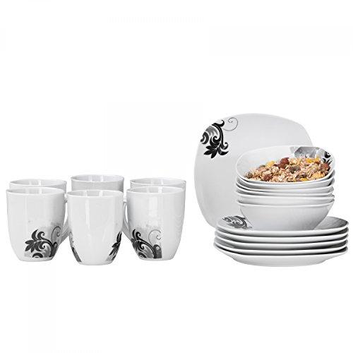 Van Well 18tlg. Frühstücks-Set Black Flower | 6 Personen | Kaffeebecher + kleine Teller + Müslischalen| modernes Dekor | edles Hotel-Porzellan