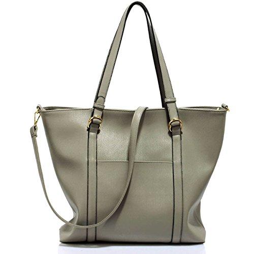 xardi Londra grande in ecopelle doppia maniglia, Donna Borsa a tracolla Hobo College donna borsetta Grey