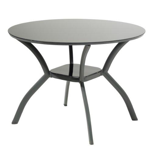 garten glastisch rund greemotion Glastisch Faro - Esstisch rund - Gartentisch mit Glasplatte - Balkontisch aus Aluminium - Terrassentisch in Anthrazit & Tischplatte in Schwarz - Outdoor-Tisch Alu-Gestell & Sicherheitsglas