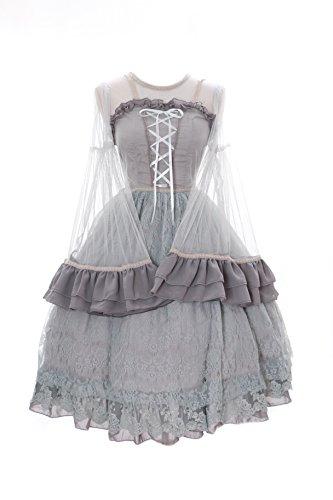 JL-639 Grau grey Kleid Victorian Rococo Stretch Classic Gothic Lolita Kostüm dress Cosplay Kawaii-Story (Stretch S-M) (Toy Story Toy Brust)