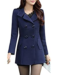 Yasong Women Slim-Fitted Double Breasted Faux Wool Coat Trench Jacket Peacoat