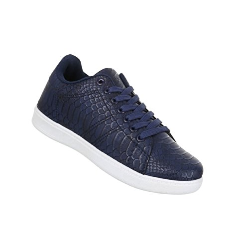 Damen Schuhe Freizeitschuhe Schnürer Schlangenoptik Sneaker Blau