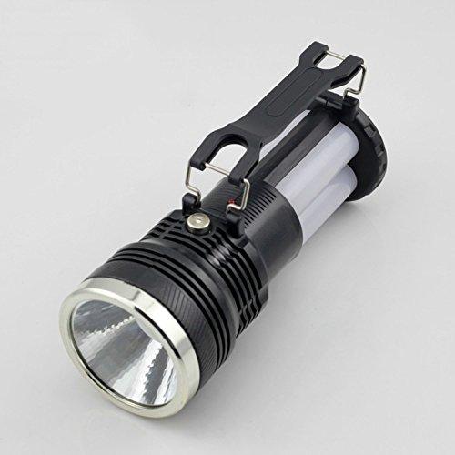 Flashlighx Lampe de Poche à Piles Solaire de Haute Puissance Lampe de Poche à Del de Haute Puissance Lampe à Main à 3 Modes pour la lumière d'urgence à la Maison, Le Camping et la randonnée (Noir)