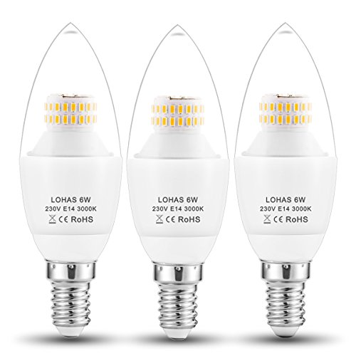 LOHAS® C37 6Watt E14 LED Candle Bulbs, 60Watt Incandescent Bulb Equivalent, 550lm, Warm White 3000K, Non Dimmable, Small Edison Screw Candle Light Bulbs, 220-240V AC, Pack of 3 Units