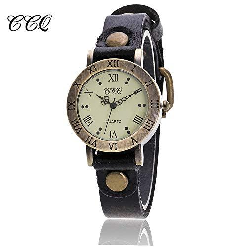 Armbanduhr Damen, VECOLE Lässige Vintage römische Ziffern Zifferblatt Feinarmbanduhr Mode Armbanduhr Quarz Analoganzeige Uhr(Schwarz)