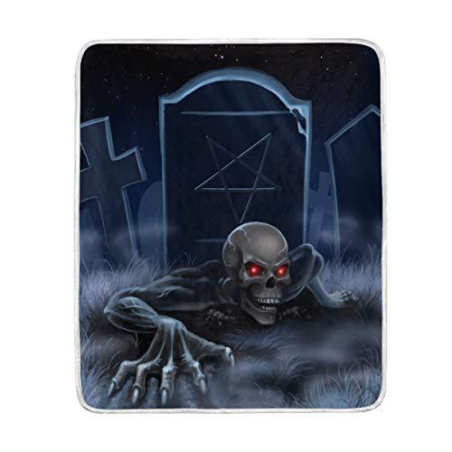 CPYang Halloween Zombie Tombstone Skull Überwurf, weiche Mikrofaser, Geschenk Reise Bett Sofa Decken 127 x 152 cm für Kinder Jungen Mädchen Männer