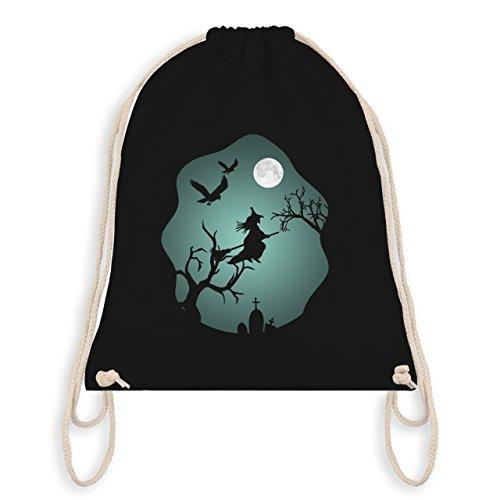 Shirtracer Halloween - Hexe Mond Grusel Grün - Unisize - Schwarz - WM110 - Turnbeutel I Gym Bag (Schwarze Für Bäume Halloween)