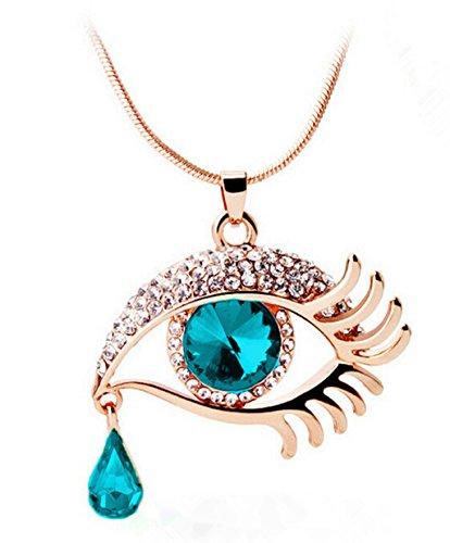 VJGOAL Damen Halskette, Mode Magisches Auge Crystal Tear Drop Wimpern Halskette Das Geschenk der Langen Strickjacke-Kette Valentinsgrußes Frau (Länge: 60 cm, A)