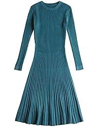 SHUCHANGLE Vestido de SuéterVestido De Suéter De Invierno para Mujer Punto Delgado Ropa De Jersey O