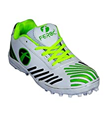Feroc Green White Cricket Sports shoe (10, Green White)