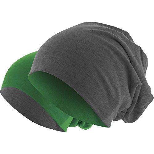 Slouch Long Beanie Reversible Strickmütze 2 in 1 Wintermütze in 48 Farben (dunkelgrün / dunkelgrau)