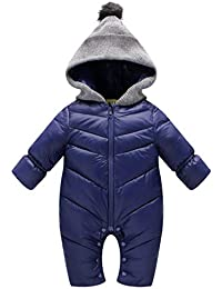 8adb5d1f1a39 Uobzyaq Baby Boys Girls Hooded One-Piece Puffer Winter Down Snowsuit  Jumpsuit Overcoat Navy Size