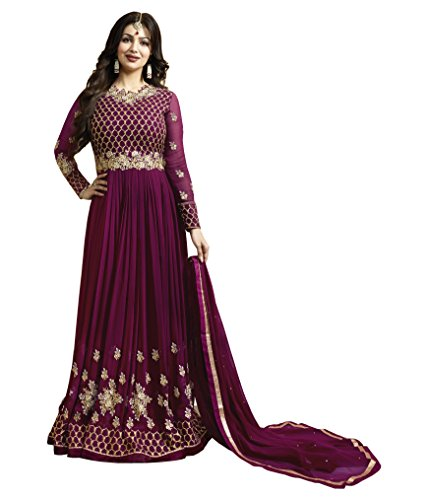 Ethnic Yard Latest Faux Georgette Party Wear Anarkali Salwar Kameez (Purple)