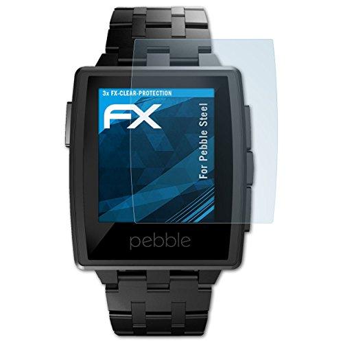 atFoliX Schutzfolie kompatibel mit Pebble Steel Folie, ultraklare FX Bildschirmschutzfolie (3X)