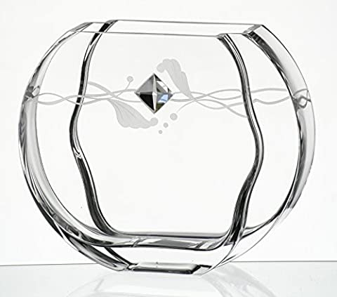 Elegant Thick Hand Blown Glass Vase with Swarovski Crystal & Unique Sandblasted Decor - Clear - 23