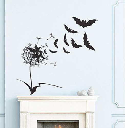 Finloveg Entworfene Fliegende Fledermäuse Mit Blume Wandtattoos Für Halloween Home Special Decor Happy Halloween Wandaufkleber 56X56Cm
