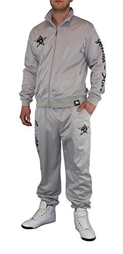 Gorilla-Star Toller und Angesagter Herren Glanz-Trainingsanzug Jogginganzug Freizeit-Anzug in super Farben mit klasse Design in Größe S - 4XL (XXXXL) (3XL, Grau)