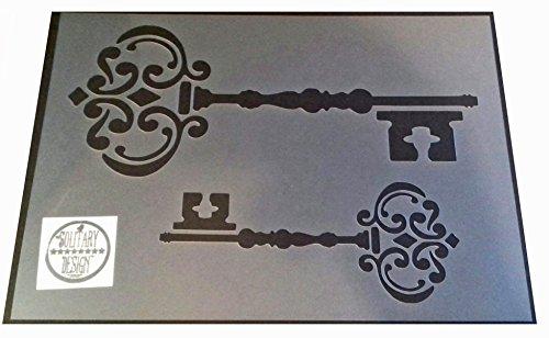 Shabby Chic Schlüssel 2Größen Schablone Vintage Damask rustikalen Mylar Stil A4297x 210mm Wand Möbel Art
