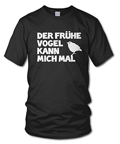 shirtloge - DER FRÜHE VOGEL KANN MICH MAL... - Kult T-Shirt - in verschiedenen Farben - Größe S - XXL Schwarz
