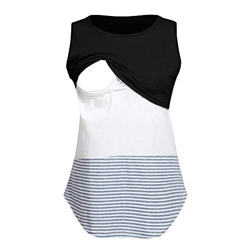 Double Layer Tee Top (HUIDE Hüftsplitter Schwangerschaft Tank Top Baby Bump Tee Pajamas Double Layer Stillen Schwangerschaft Basic Top)