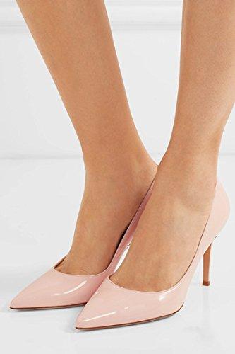 EDEFS Damen High Heels Klassische Pumps Geschlossene Spitze Zehen Übergröße Schuhe 8cm Absatz Babypink