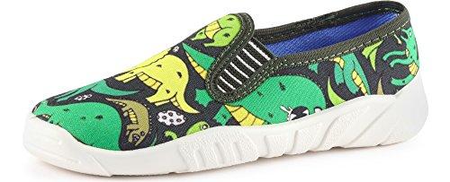 Ladeheid Zapatillas Zapatos Calzado Unisex Niños LAZT001(Verde/Dinosaurio, 27)