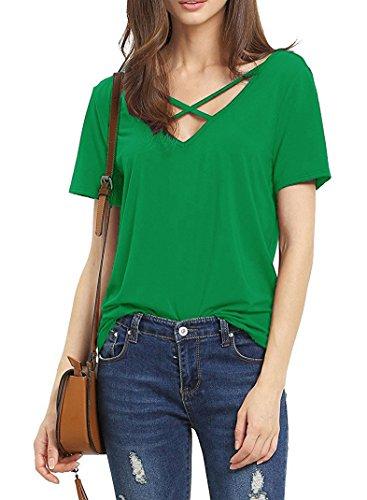 Suimiki Damen Sommer Kurzarm T-Shirt V-Ausschnitt mit Schnürung Vorne Oberteil Tops Bluse Shirt (S, Grün)