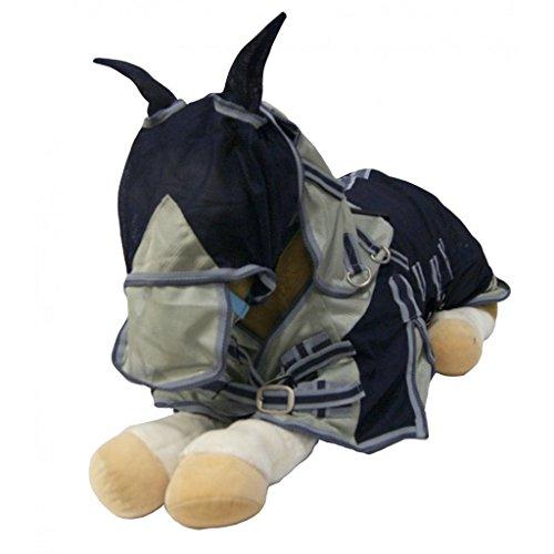 QHP Falabella Minishetty Fliegendecke mit Hals und Maske Schweif- Bauchlatz (75 cm, blau)