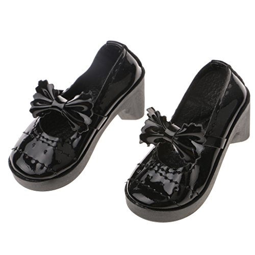 Zapatos de Tacón Fashion Mu?ecas Grueso Lolita Bowknot Redonda con Punta para 1/3 BJD - Rojo xZ01n