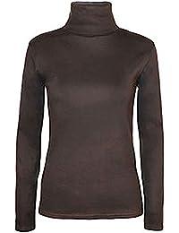 Mujer Polo Roll Cuello dehn Bar manga larga Jersey de cuello alto Sudadera tamaño 34–52 Marrón marrón
