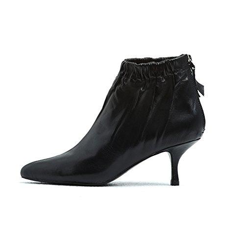 Stivaletto donna stivali di pelle punta punta medio heel indietro cerniera comodi scarponi corti con taco per autunno inverno (43, nero)