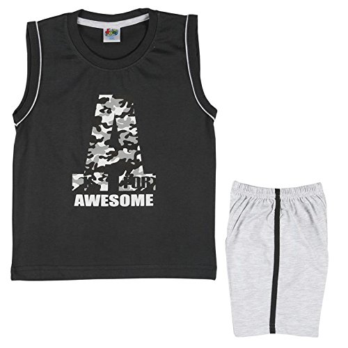 LK Kidswear Awesome Print Black Sleeveless Tshirt Pant Combo Set Outfits for Boys Girls Infants 6 months-3 Years