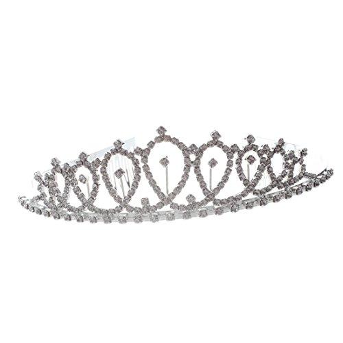 SODIAL(R) Diadema plateada de la novia con Rhinestone de la joyeria + Peine