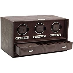 Wolf Blake Triple 2.7 Automated Mechanical Lockable Watch Winder - Brown Lizard