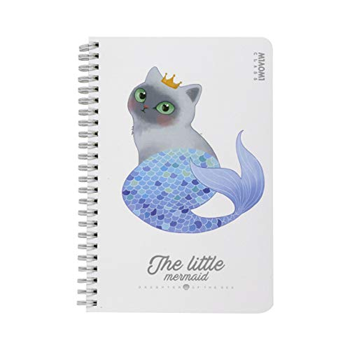 Cuaderno A5 de anillas Sirena Gato interior liso (Blanco)