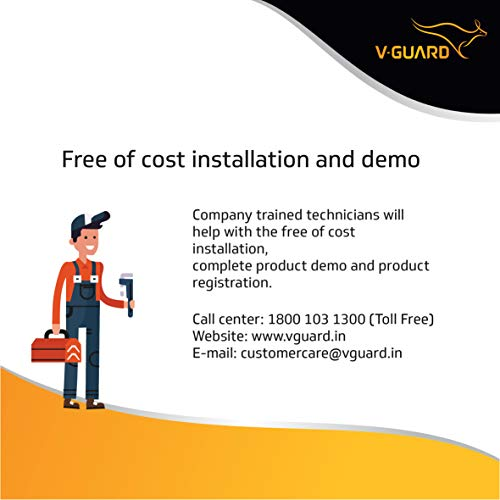 V-Guard Water Heater Victo 15 litres - Free Installation with Inlet and Outlet Pipes
