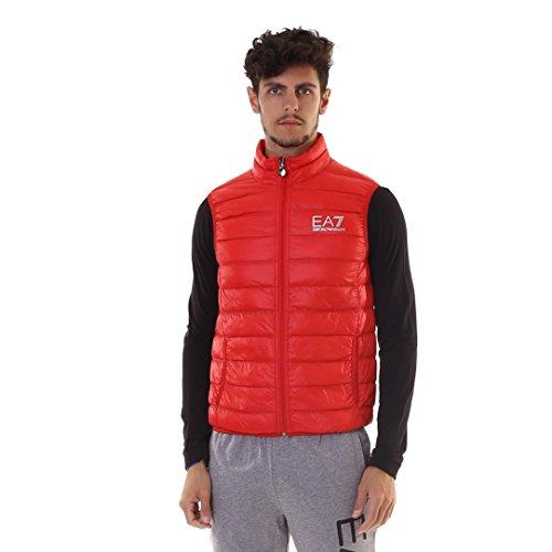 emporio armani jacke EA7 Emporio Armani Herren Weste - Lightweight Dauenweste Daunenjacke leichte Jacke mit Stehkragen, gesteppte Optik, Farbe:Rot;Größe:XXL