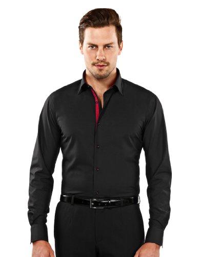 Vincenzo boretti camicia uomo eleganti, taglio aderente/slim-fit, collo classico, manica lunga, nera con inserti interni color rosso vino di contrasto, non stiro/non-iron 39/40