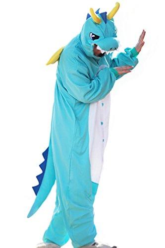 wotogold Herren Tier Drachen Pyjamas Cosplay Kostüme mit Horn X-Large Blau (Blue Dragon Kostüm)