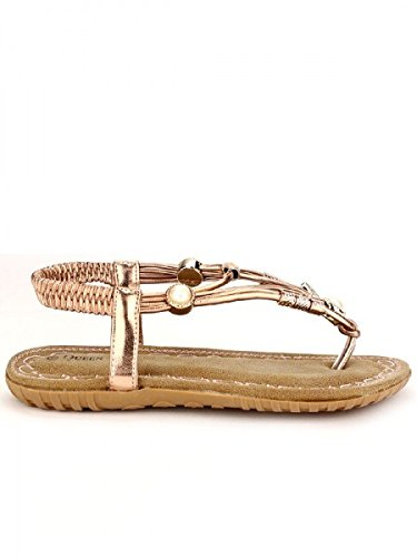 Cendriyon, Tongs colors Champagne QUEEN'S Chaussures Femme Bronze
