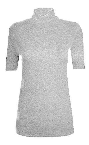 WearAll - Damen Rollkragen Elastisch Ärmellos Unterhemd Bodycon Top - 8 Farben - Größe 36-42 Grey Short Sleeve