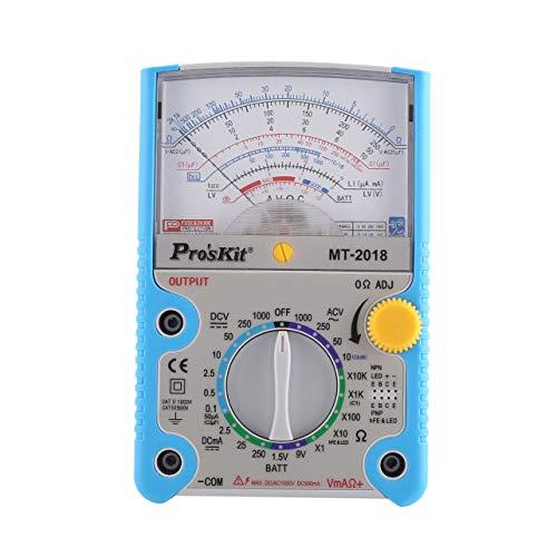 Pros\'Kit MT-2018 Resistencia metro de prueba del multímetro analógico estándar de seguridad profesional Ohm DC AC Voltaje actual del multímetro (Color: Azul)