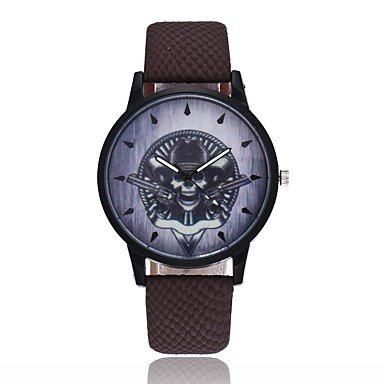 Relojes Hermosos, Hombre Mujer Reloj creativo único Reloj Casual Chino Cuarzo Calavera PU Banda Vintage Cool Halloween Negro Azul Marrón ( Color : Café )