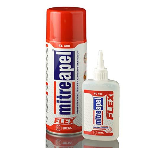 Mitreapel FA400 Sekundenkleber Flexibel mit Aktivator Spray Extra Stark Und Blitzschnell, Superkleber Mit Hoher Qualität, 100g + 400ml (Kleber-aktivator-spray)