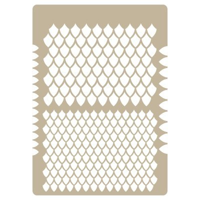 Stencil Aerografia textura 025 Escamas. Medidas aproximadas:Tamaño del stencil 20 x 30(cm) Tamaño de la figura 20 x 30(cm) Tamaño escama grande 1.4 x 2.3(cm) Tamaño escama pequeña 1 x 1.7(cm)