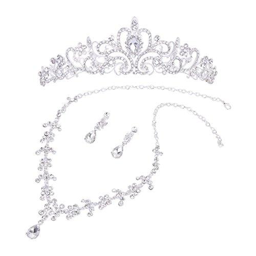 Set Tiara (Kristall Blume Tiara Krone + Halskette Ohrring Set Hochzeit Partei Braut)