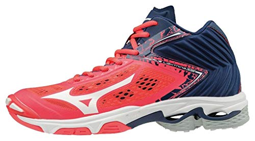 Mizuno Scarpa Volley Wave Lightning Z5 Mid Donna (39 EU, 01 - Fiery Coral/White/Estate Blue)