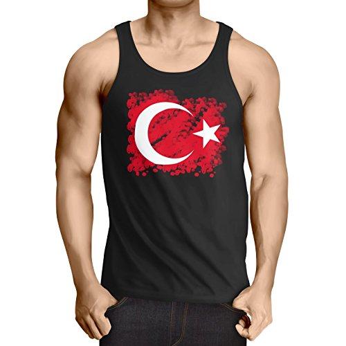 CottonCloud Türkei Herren Tank Top Turkey Türkiye Flagge Mondstern, Größe:XL;Farbe:Schwarz